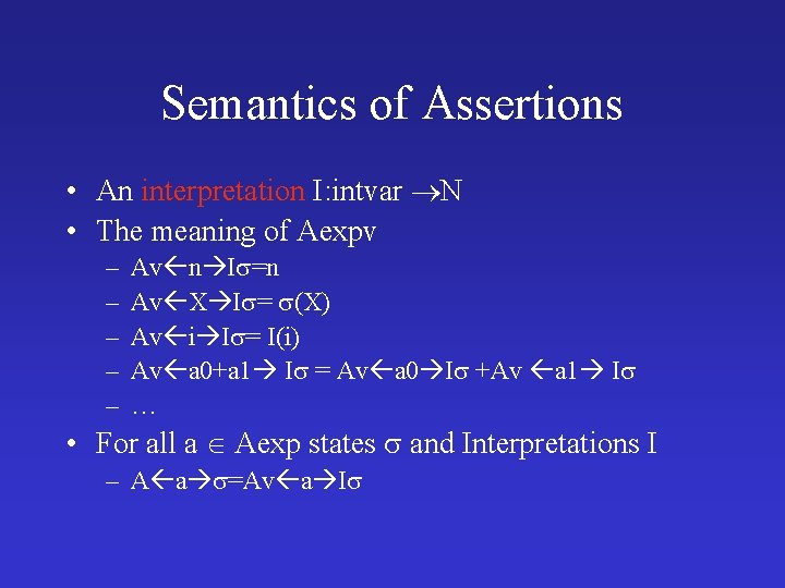 Semantics of Assertions • An interpretation I: intvar N • The meaning of Aexpv