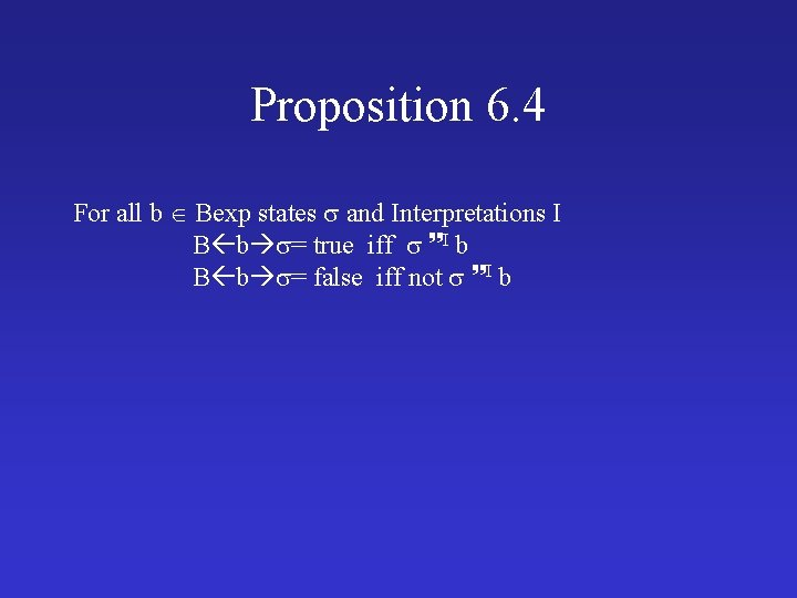 Proposition 6. 4 For all b Bexp states and Interpretations I B b =