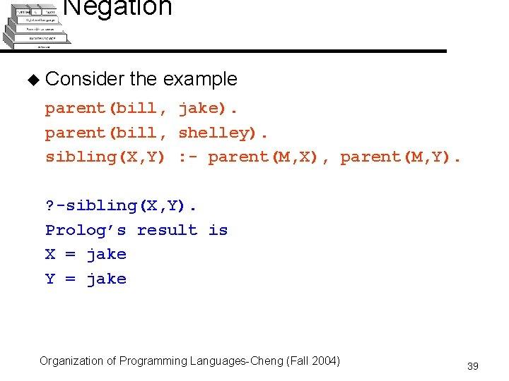 Negation u Consider the example parent(bill, jake). parent(bill, shelley). sibling(X, Y) : - parent(M,