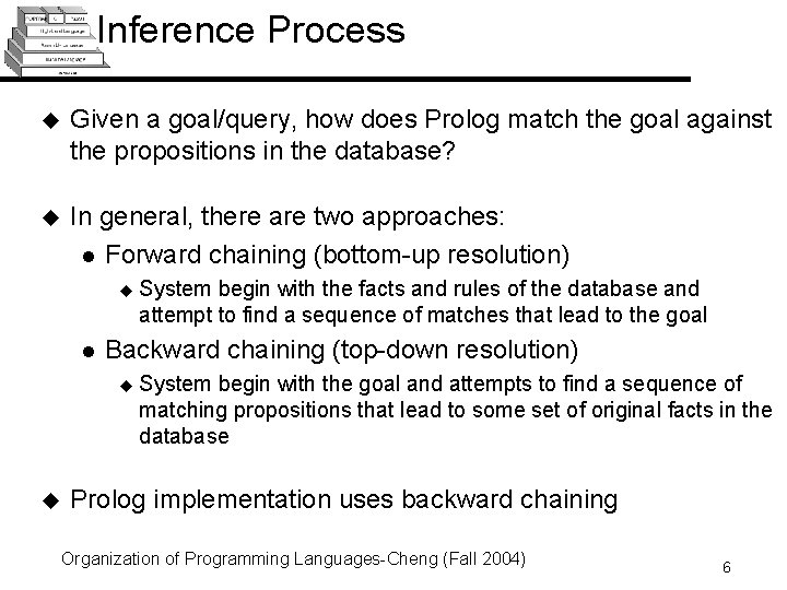 Inference Process u Given a goal/query, how does Prolog match the goal against the
