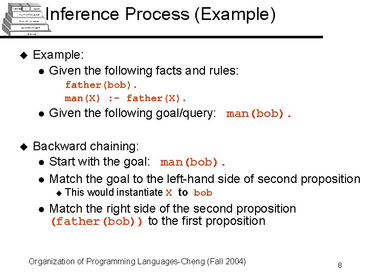 Inference Process (Example) u Example: l Given the following facts and rules: father(bob). man(X)
