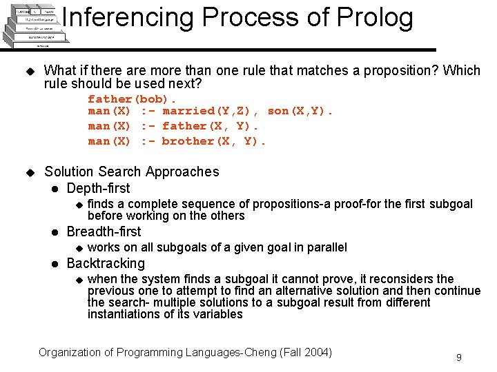 Inferencing Process of Prolog u What if there are more than one rule that