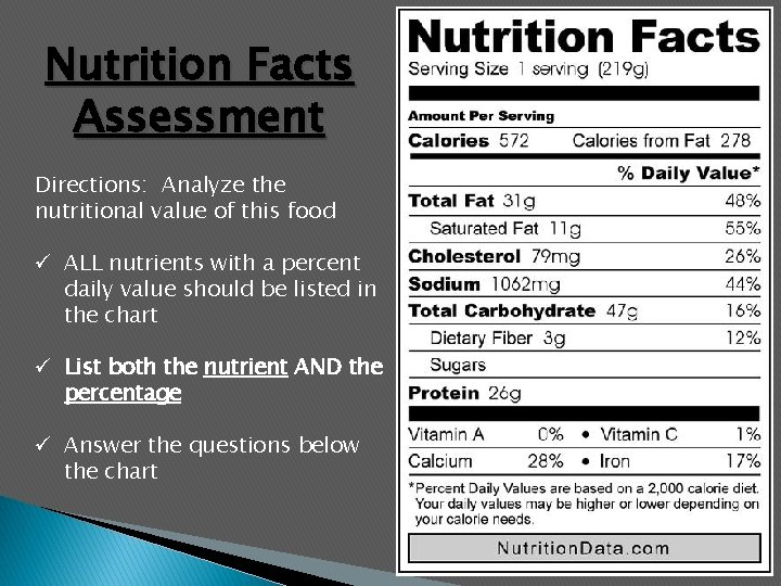 Nutrition Facts Assessment Directions: Analyze the nutritional value of this food ü ALL nutrients