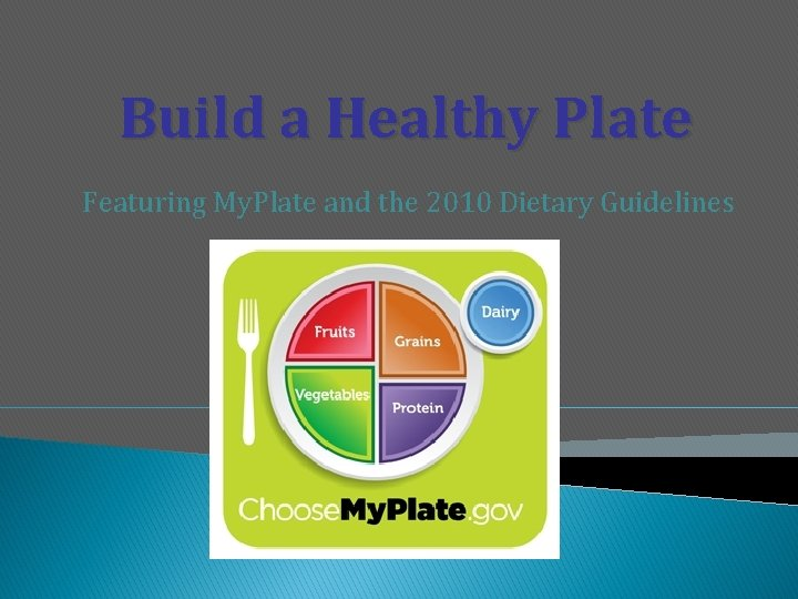 Build a Healthy Plate Featuring My. Plate and the 2010 Dietary Guidelines