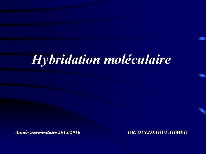 Hybridation moléculaire Année universitaire 2015/2016 DR. OULDJAOUI AHMED