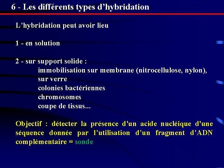6 - Les différents types d'hybridation L'hybridation peut avoir lieu 1 - en solution