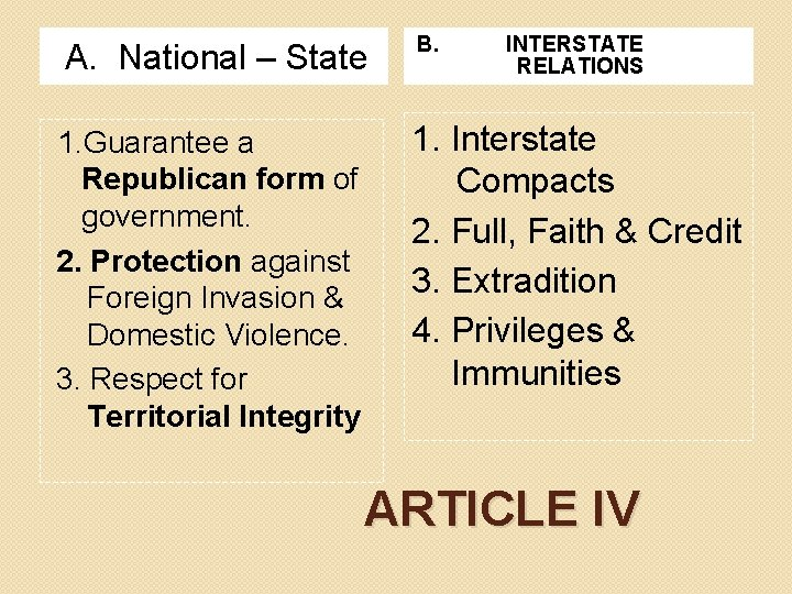 A. National – State 1. Guarantee a Republican form of government. 2. Protection against