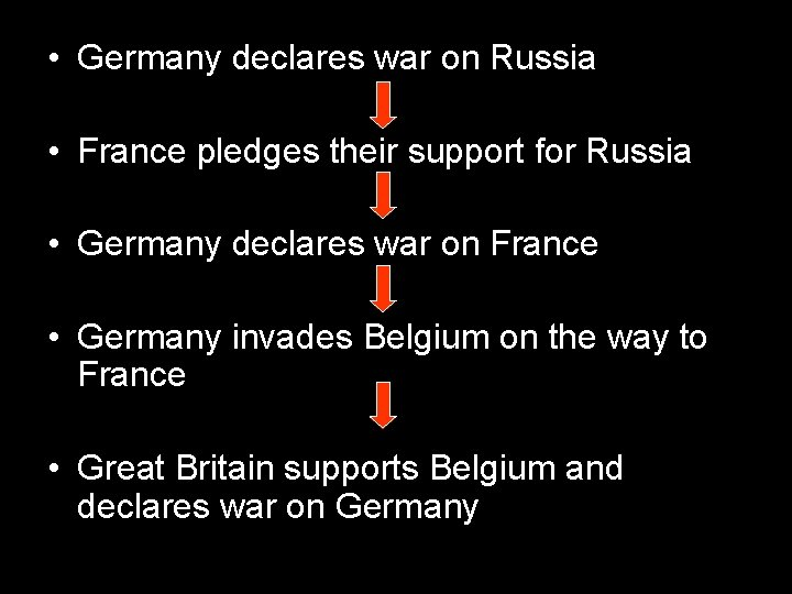 • Germany declares war on Russia • France pledges their support for Russia