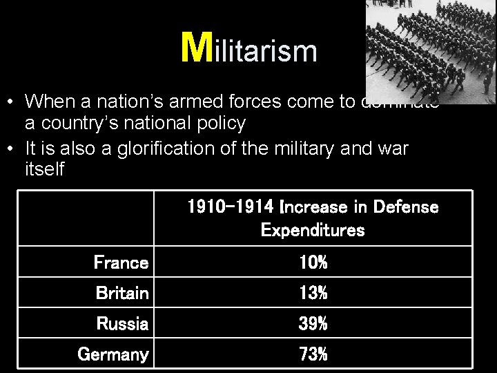 Militarism • When a nation's armed forces come to dominate a country's national policy