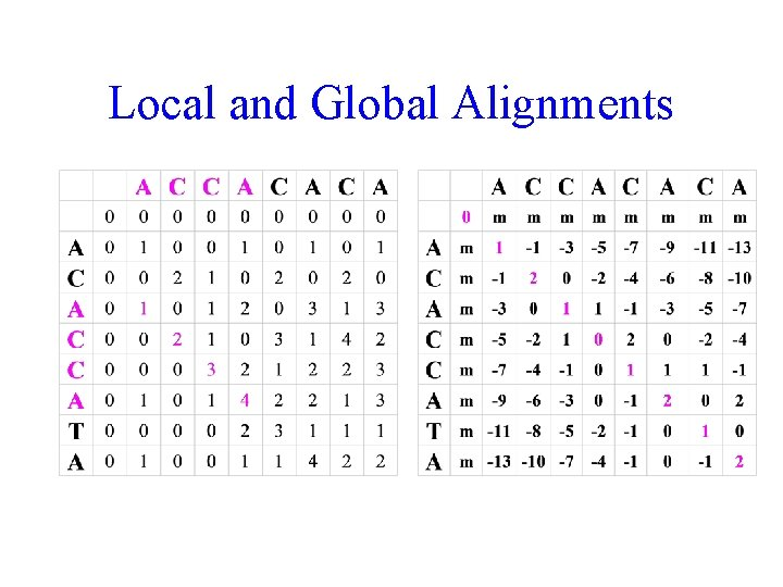 Local and Global Alignments
