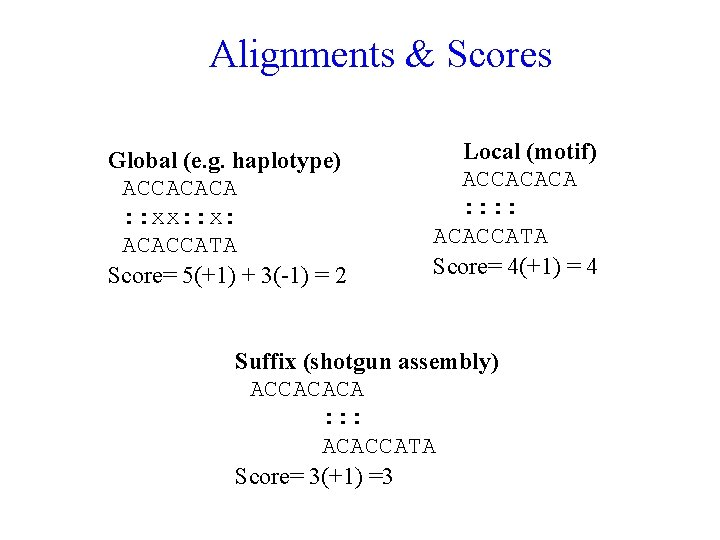 Alignments & Scores Global (e. g. haplotype) ACCACACA : : xx: : x: ACACCATA