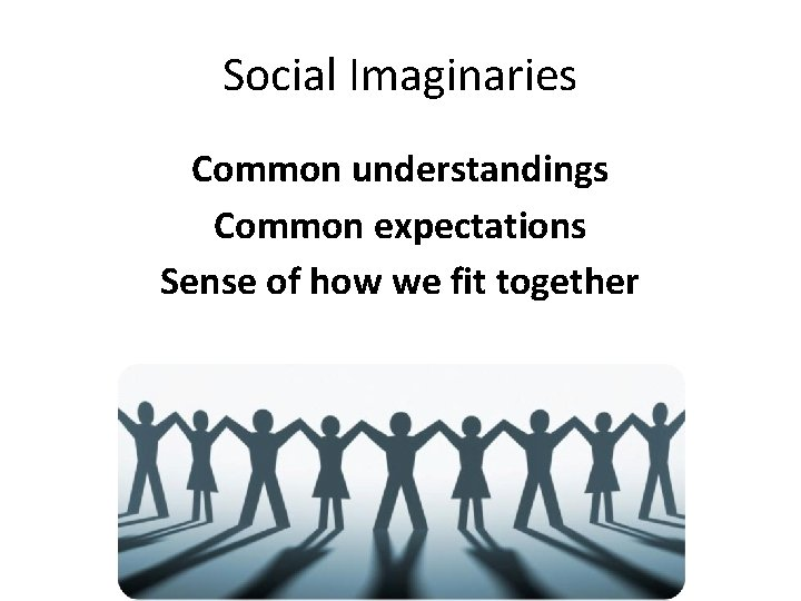 Social Imaginaries Common understandings Common expectations Sense of how we fit together