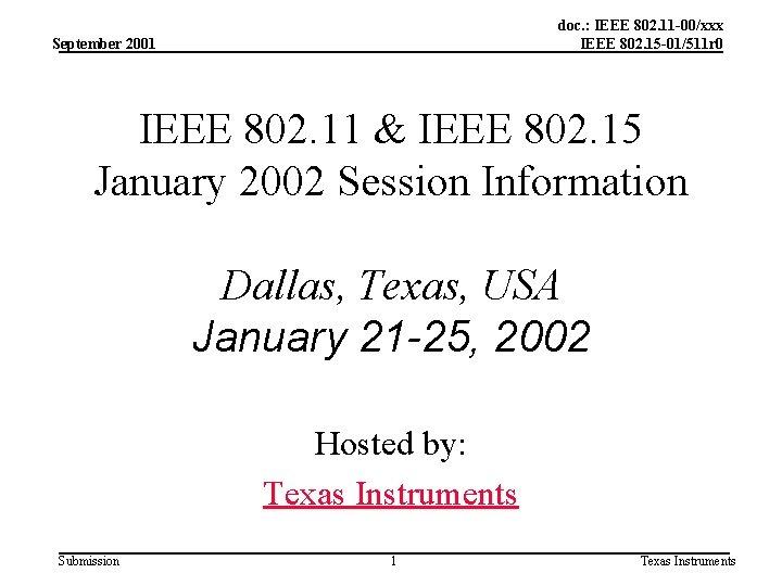 doc. : IEEE 802. 11 -00/xxx IEEE 802. 15 -01/511 r 0 September 2001