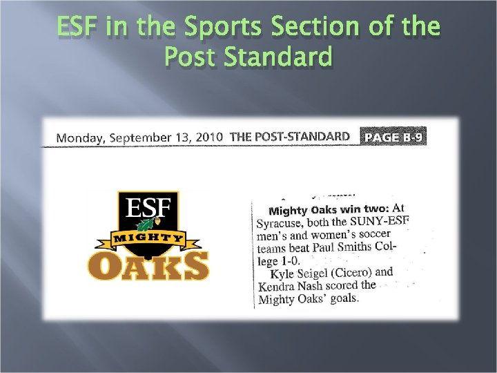ESF in the Sports Section of the Post Standard
