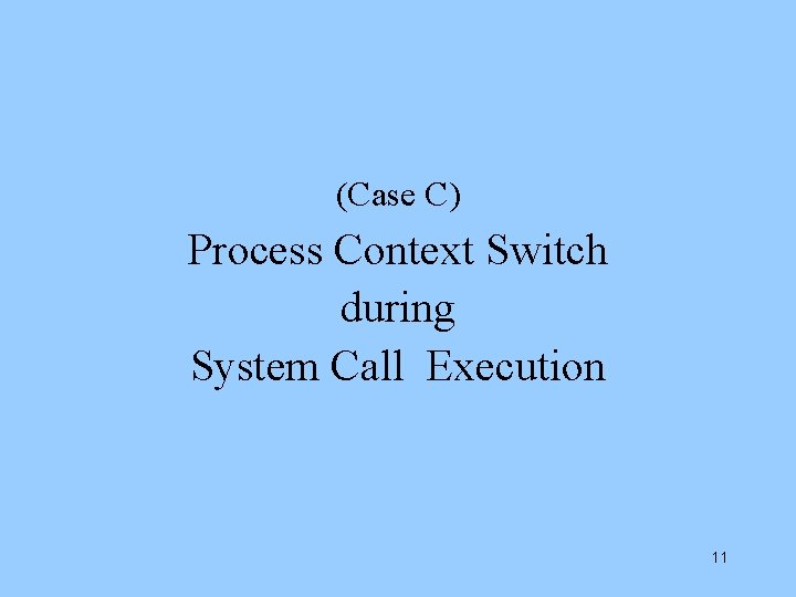 (Case C) Process Context Switch during System Call Execution 11