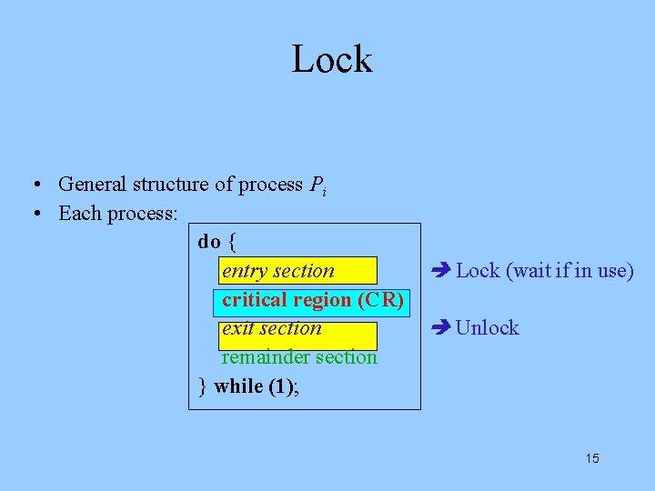 Lock • General structure of process Pi • Each process: do { entry section