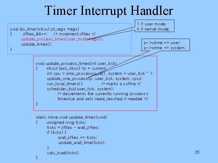 Timer Interrupt Handler void do_timer(struct pt_regs *regs) { jiffies_64++; /* increment jiffies */ update_process_times(user_mode(regs));