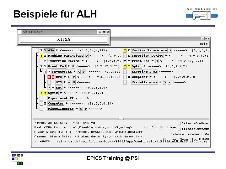 Beispiele für ALH EPICS Training @ PSI
