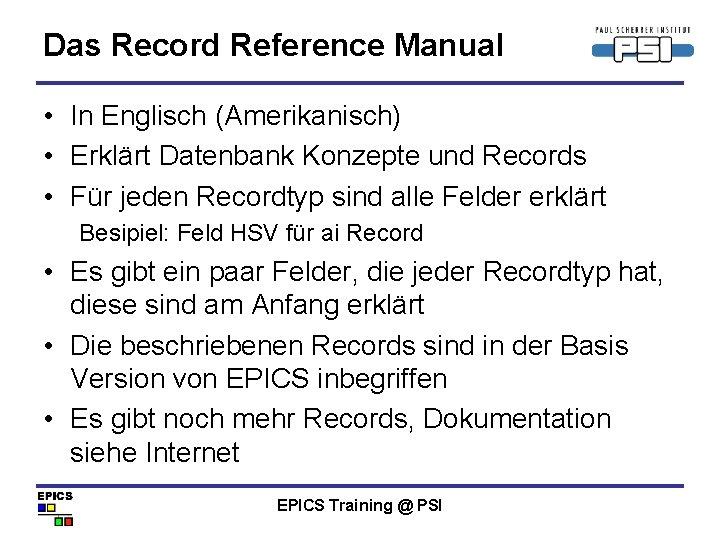 Das Record Reference Manual • In Englisch (Amerikanisch) • Erklärt Datenbank Konzepte und Records
