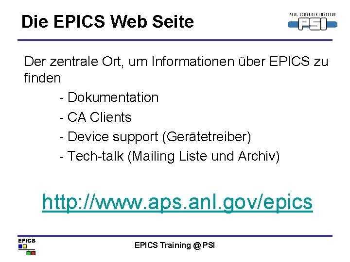 Die EPICS Web Seite Der zentrale Ort, um Informationen über EPICS zu finden -
