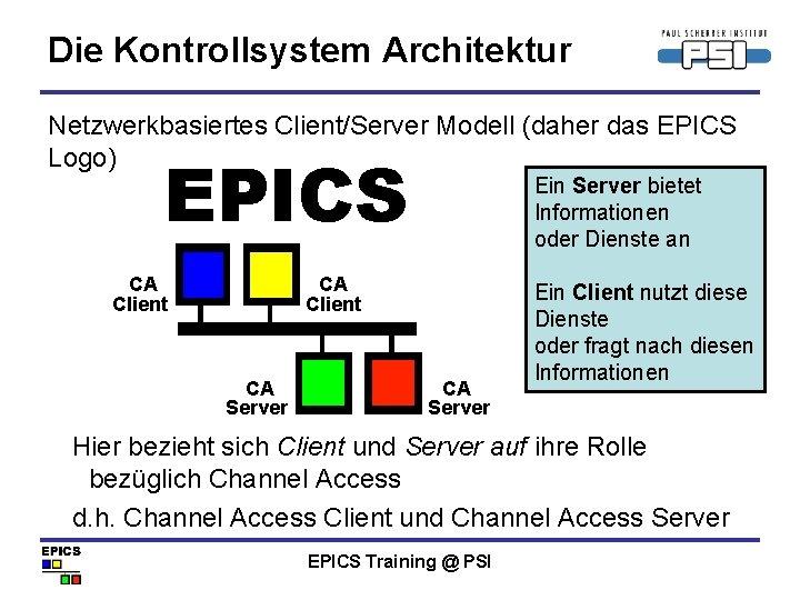 Die Kontrollsystem Architektur Netzwerkbasiertes Client/Server Modell (daher das EPICS Logo) EPICS Ein Server bietet