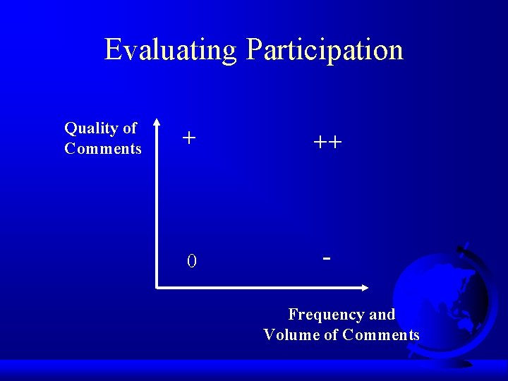 Evaluating Participation Quality of Comments + ++ 0 Frequency and Volume of Comments