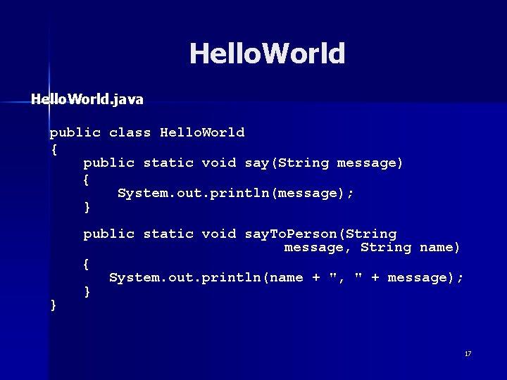 Hello. World. java public class Hello. World { public static void say(String message) {