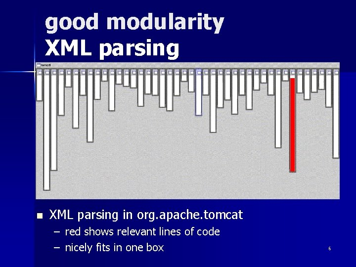 good modularity XML parsing n XML parsing in org. apache. tomcat – – red
