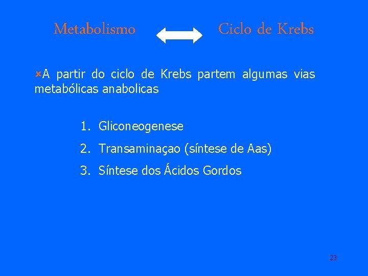 Metabolismo Ciclo de Krebs ûA partir do ciclo de Krebs partem algumas vias metabólicas