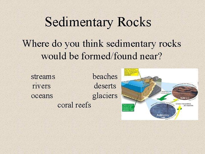 Sedimentary Rocks Where do you think sedimentary rocks would be formed/found near? streams rivers