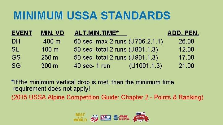 MINIMUM USSA STANDARDS EVENT DH SL GS SG MIN. VD 400 m 100 m