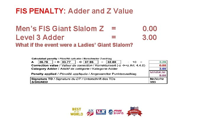 FIS PENALTY: Adder and Z Value Men's FIS Giant Slalom Z Level 3 Adder