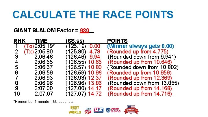 CALCULATE THE RACE POINTS GIANT SLALOM Factor = 980 RNK TIME 1 (To)2: 05.