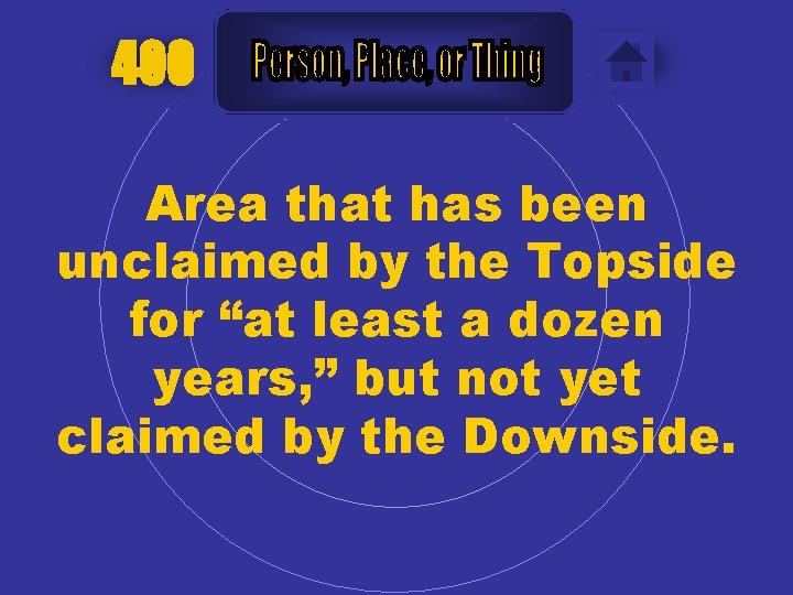 """400 Area that has been unclaimed by the Topside for """"at least a dozen"""
