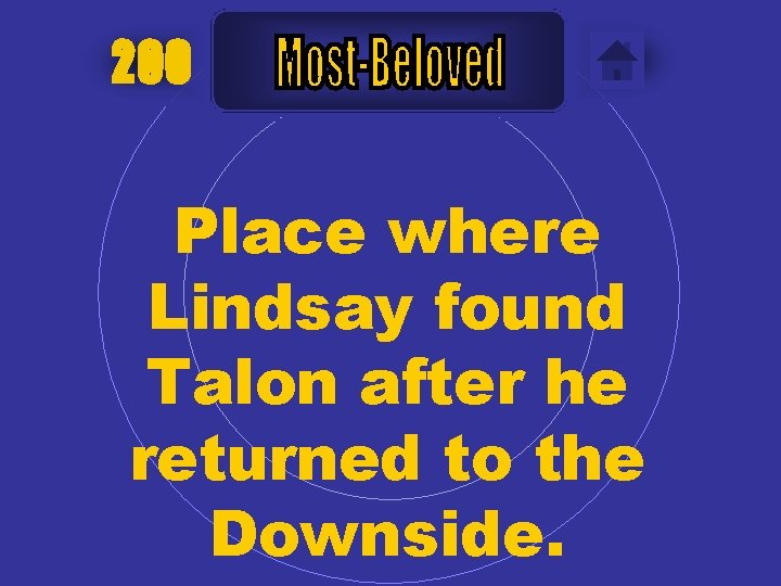 200 Place where Lindsay found Talon after he returned to the Downside.