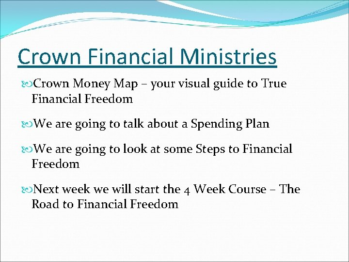 Crown Financial Ministries Crown Money Map – your visual guide to True Financial Freedom