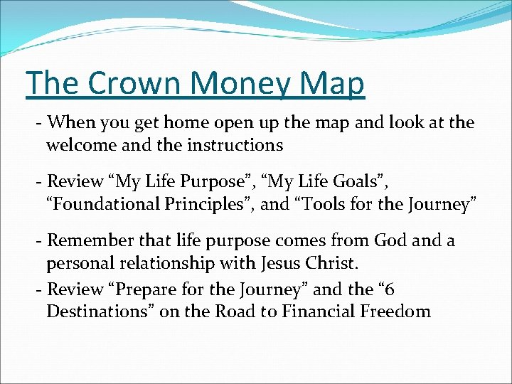 The Crown Money Map - When you get home open up the map and