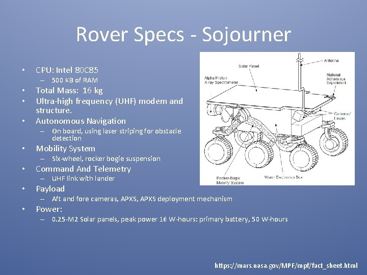 Rover Specs - Sojourner • CPU: Intel 80 C 85 – 500 KB of
