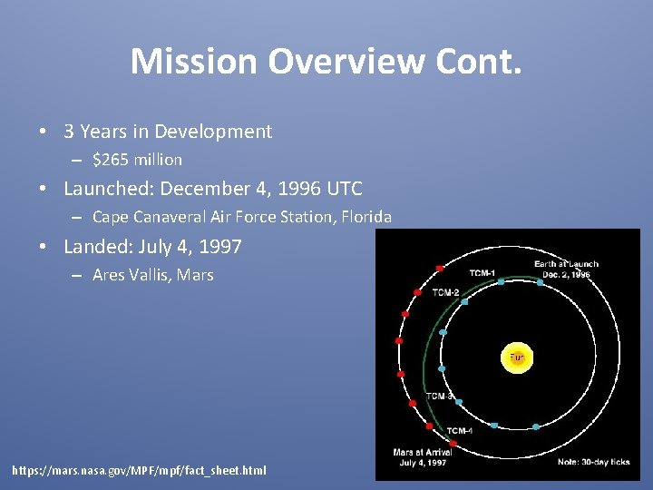 Mission Overview Cont. • 3 Years in Development – $265 million • Launched: December