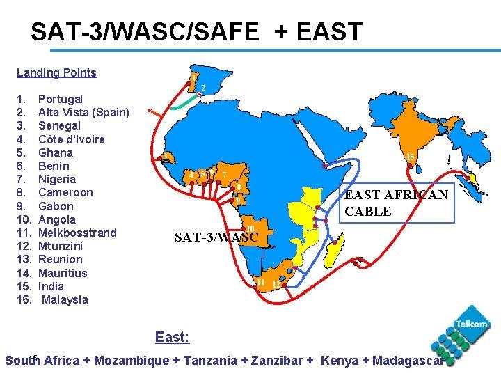 SAT-3/WASC/SAFE + EAST Landing Points 1 2 1. 2. 3. 4. 5. 6. 7.