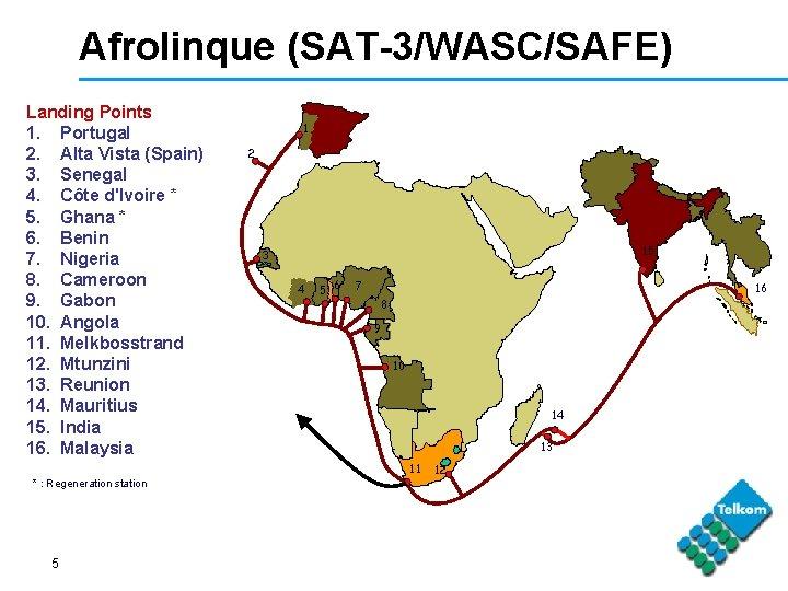 Afrolinque (SAT-3/WASC/SAFE) Landing Points 1. Portugal 2. Alta Vista (Spain) 3. Senegal 4. Côte