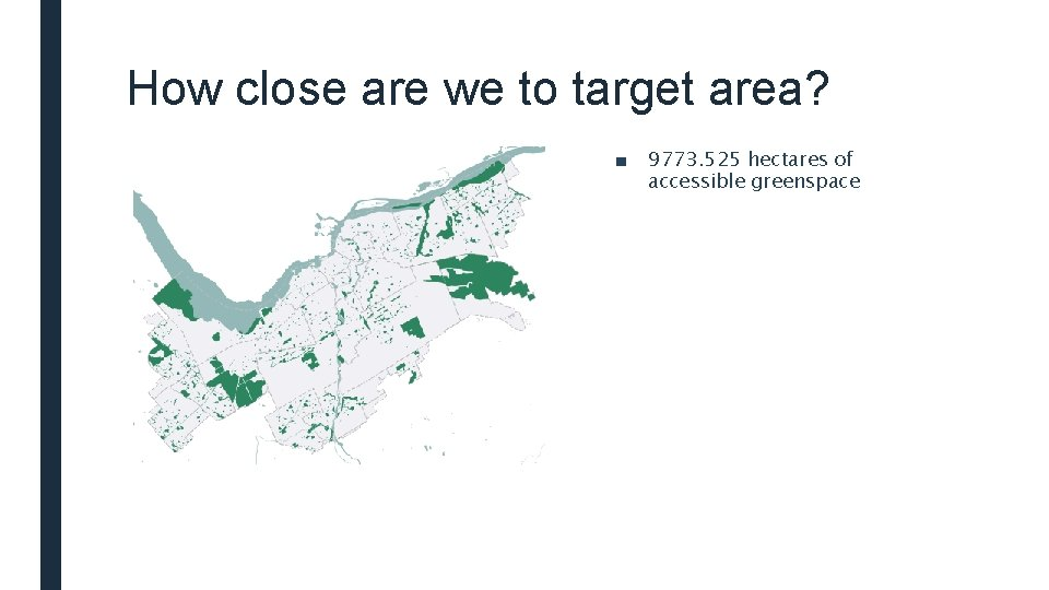 How close are we to target area? ■ 9773. 525 hectares of accessible greenspace