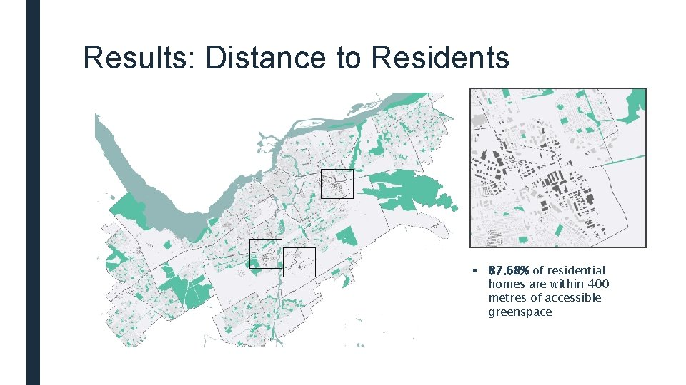Results: Distance to Residents § 87. 68% of residential homes are within 400 metres