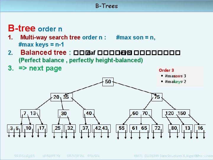 B-Trees B-tree order n 1. Multi-way search tree order n : #max son =