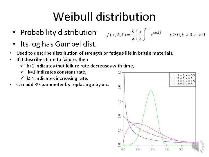 Weibull distribution • Probability distribution • Its log has Gumbel dist. • Used to