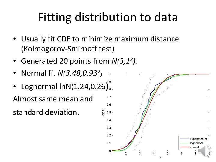 Fitting distribution to data • Usually fit CDF to minimize maximum distance (Kolmogorov-Smirnoff test)