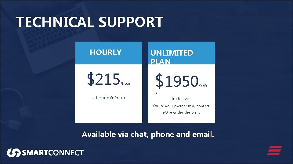 TECHNICAL SUPPORT HOURLY $215 /hour 2 hour minimum UNLIMITED PLAN $1950 /YEA R Inclusive.