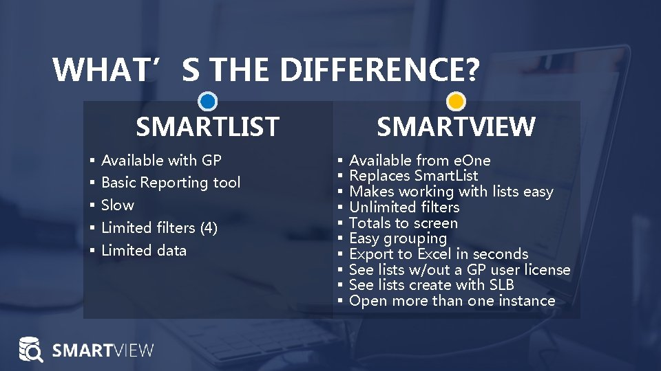 WHAT'S THE DIFFERENCE? SMARTLIST § Available with GP § Basic Reporting tool § Slow