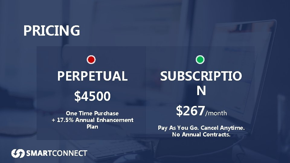 PRICING PERPETUAL $4500 One Time Purchase + 17. 5% Annual Enhancement Plan SUBSCRIPTIO N
