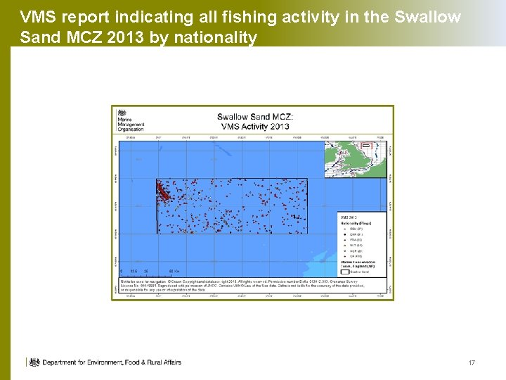 VMS report indicating all fishing activity in the Swallow Sand MCZ 2013 by nationality